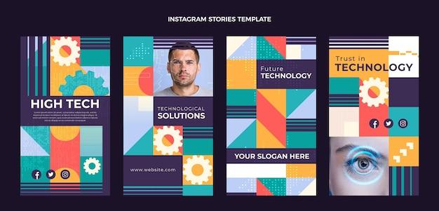 Histórias de instagram de tecnologia mínima de design plano