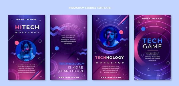 Histórias de instagram de tecnologia plana e minimalista