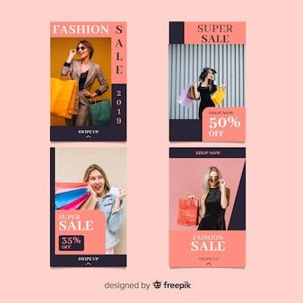 Histórias de instagram de venda de moda