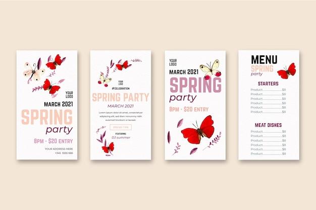 Histórias de instagram de venda de primavera em aquarela