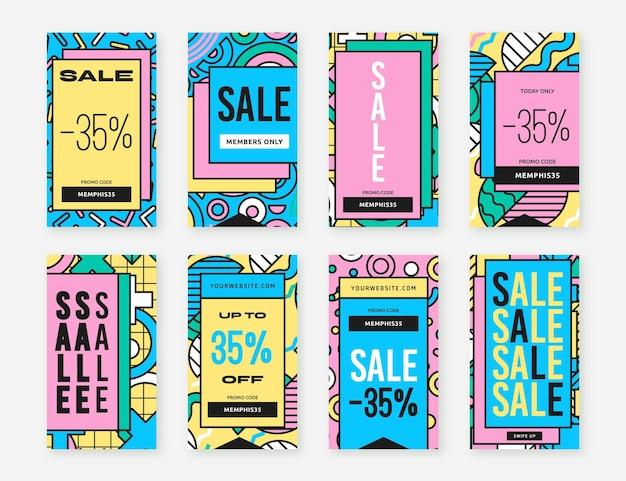 Histórias de instagram de vendas de formas abstratas