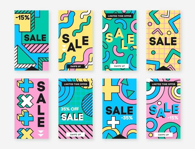 Histórias de instagram de vendas de formas geométricas