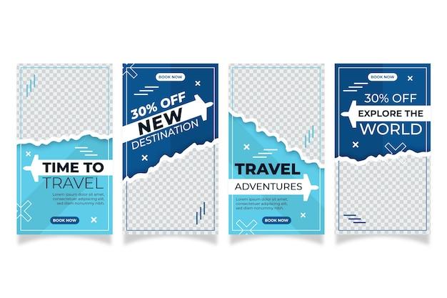 Histórias de instagram de viagens em design plano