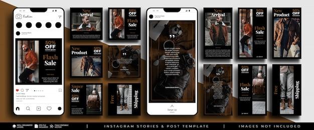 Histórias de instagram em mídias sociais e modelo de kit de pacote de feed