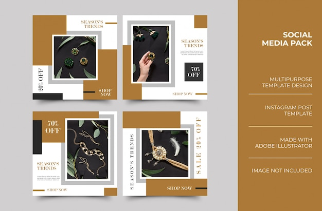 Histórias de jóias do instagram e modelo de design minimalista de publicação de feed
