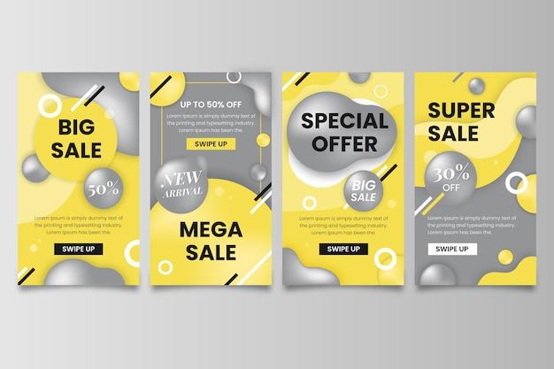 Histórias de mídia social amarela e cinza