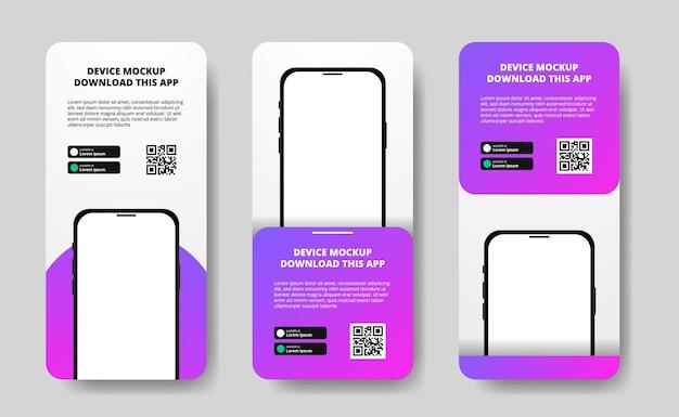 Histórias de mídia social banner publicitário para download de aplicativo para celular, maquete de dispositivo de smartphone duplo 3d com gradiente roxo moderno. botões de download com modelo de código qr de digitalização.