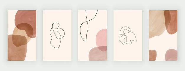 Histórias de mídia social com formas e linhas de aquarela