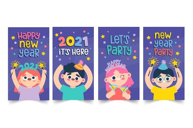 Histórias de mídia social da festa de ano novo de 2021 definidas