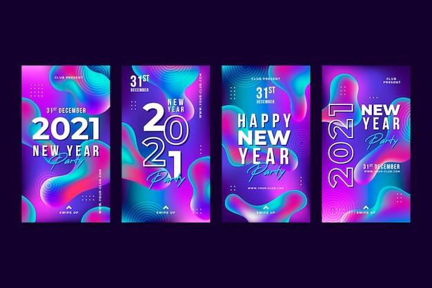 Histórias de mídia social da festa do ano novo de 2021