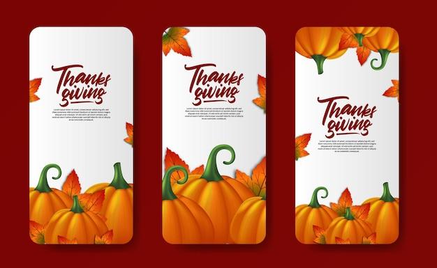 Histórias de mídia social de ação de graças em 3d vegetal de abóbora realista com folhas de bordo outono outono