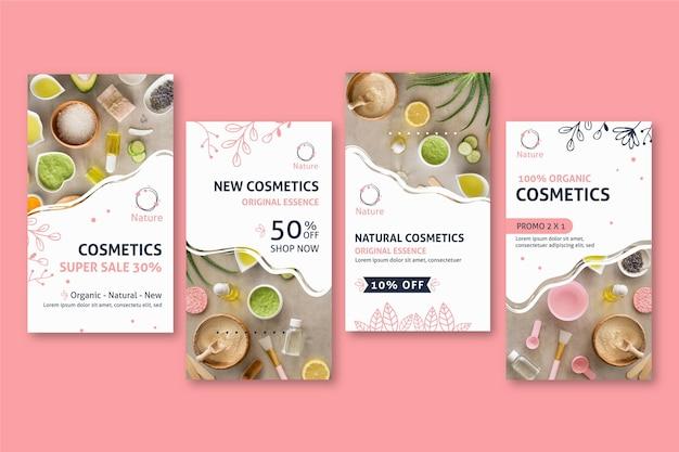 Histórias de mídia social de cosméticos naturais da essência original