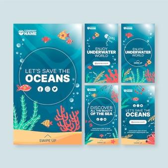 Histórias de mídia social de ecologia de oceanos