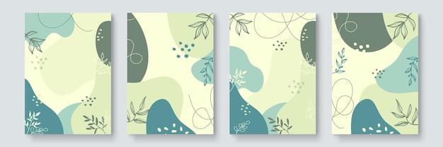 Histórias de mídia social e conjunto de vetores de modelo de postagem. formas abstratas cobrem o fundo com floral e copie o espaço para texto e imagens. ilustração vetorial