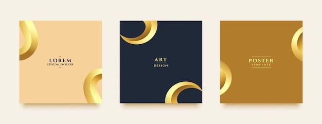 Histórias de mídia social premium e postar banners dourados de luxo