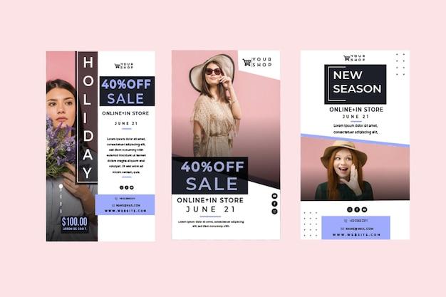 Histórias de modelos de compras online no instagram