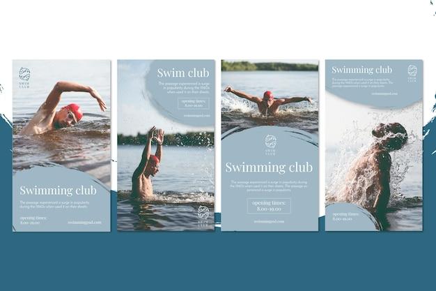 Histórias de natação no instagram