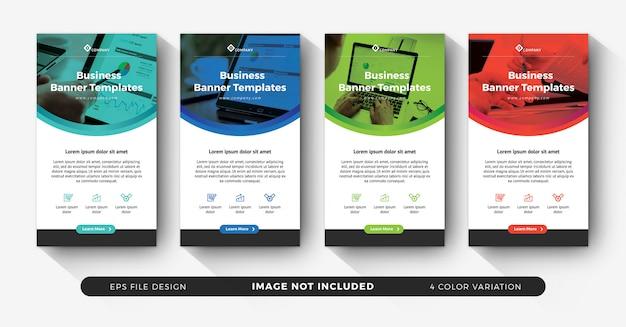 Histórias de negócios do instagram para publicidade com variação de cores
