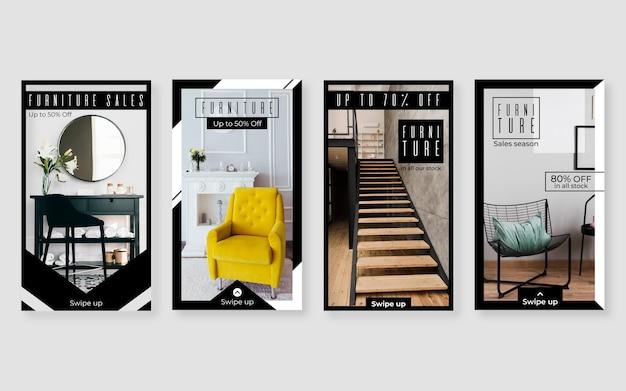 Histórias de venda de móveis no instagram com foto