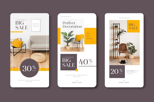 Histórias de venda de móveis no instagram