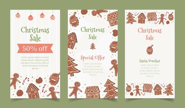 Histórias de venda de natal no instagram postam folheto de banner com moldura de gengibre
