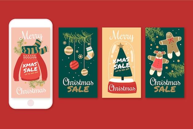 Histórias de venda de natal no instagram Vetor grátis