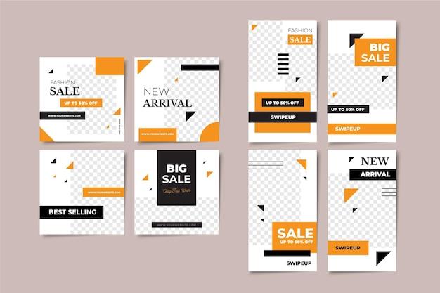 Histórias de vendas e modelos de pacotes de postagens
