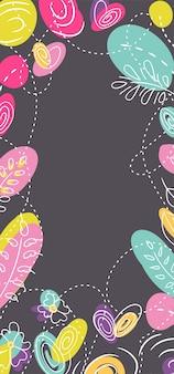 Histórias de web sazonais florais de millefleur de verão. canteiro de flores com cores neon brilhantes.