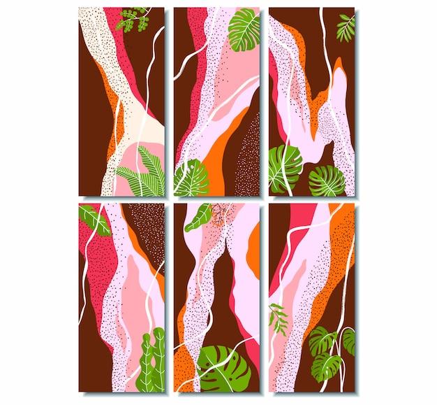 Histórias do instagram com design floral abstrato.