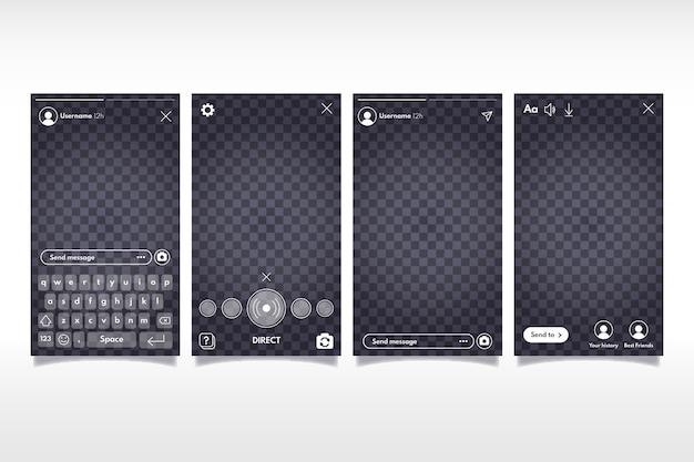 Histórias do instagram com o conceito de modelo de interface