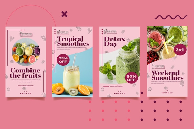 Histórias do instagram da fábrica de smoothies