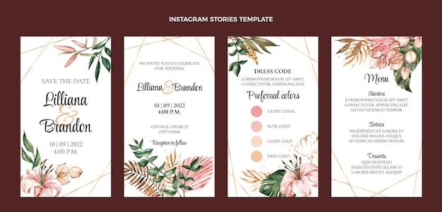 Histórias do instagram de casamento boho em aquarela