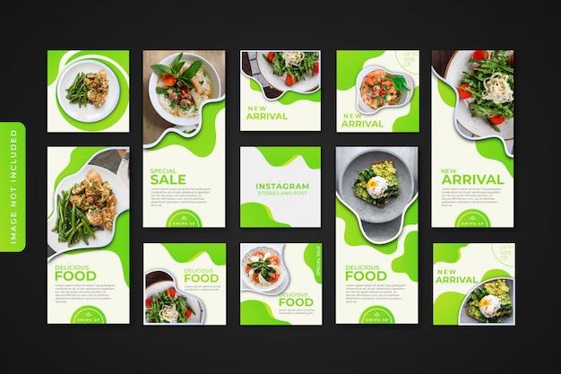 Histórias do instagram de culinária e kit de pacote de postagem de feed banner premium