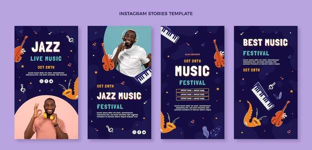 Histórias do instagram de festivais de música desenhadas à mão