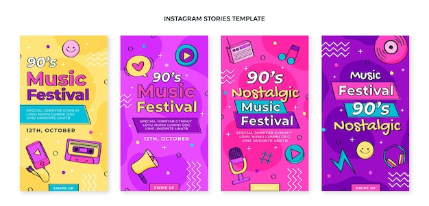 Histórias do instagram de festivais de música dos anos 90 desenhadas à mão