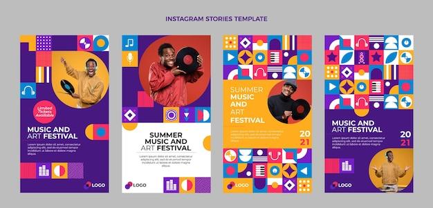 Histórias do instagram de festival de música em mosaico plano