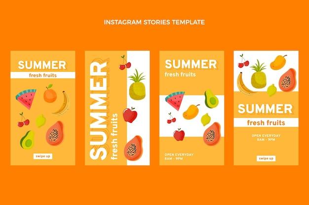 Histórias do instagram de frutas planas saudáveis
