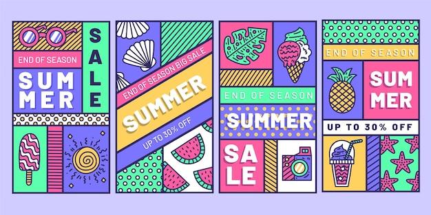 Histórias do instagram de liquidação de verão no fim da temporada