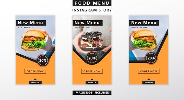 Histórias do instagram de menu de comida