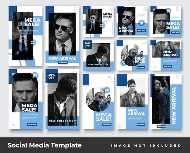 Histórias do instagram de mídia social e pacote de banner de postagem de feed