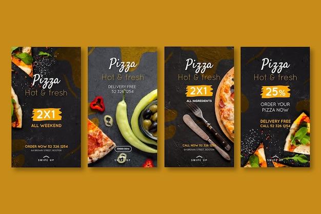 Histórias do instagram de pizzarias Vetor Premium
