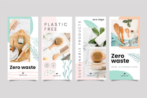 Histórias do instagram de produtos sem resíduos de plástico zero