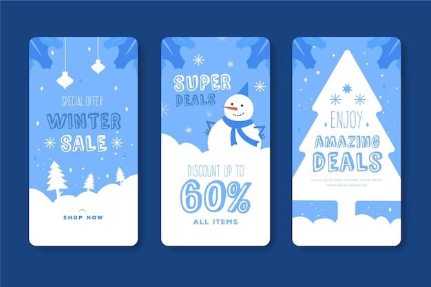 Histórias do instagram de promoções de inverno