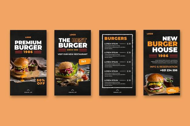 Histórias do instagram de restaurantes de hambúrgueres