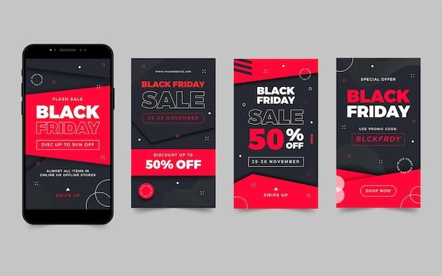 Histórias do instagram de sexta-feira negra em design plano