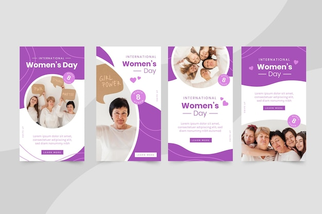 Histórias do instagram do dia internacional da mulher plana