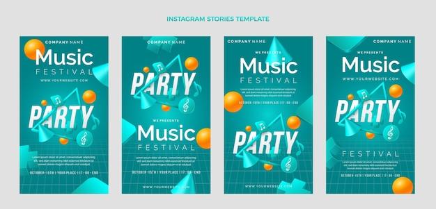 Histórias do instagram do festival de música colorida gradiente