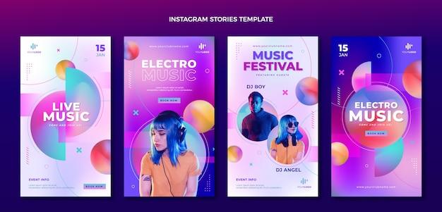 Histórias do instagram do festival de música de textura gradiente