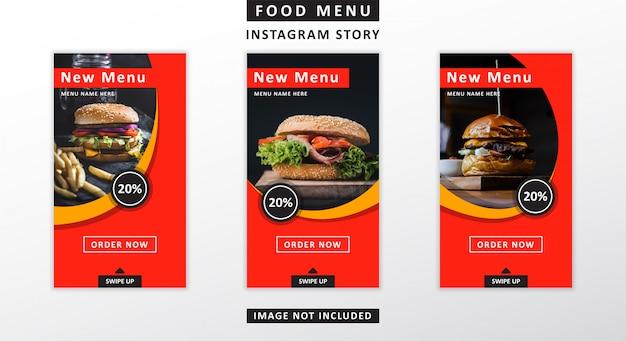 Histórias do instagram do menu comida