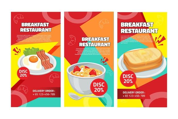 Histórias do instagram em restaurante de café da manhã